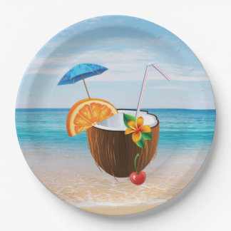 Tropical Beach,Blue Sky,Ocean Sand,Coconut Coctail Paper Plate