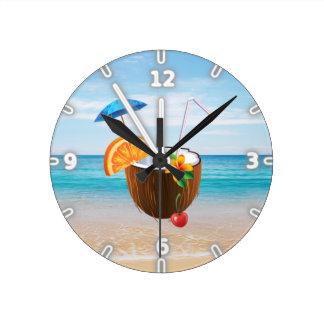 Tropical Beach,Blue Sky,Ocean Sand,Coconut Coctail Round Clock