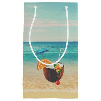 Tropical Beach,Blue Sky,Ocean Sand,Coconut Coctail Small Gift Bag