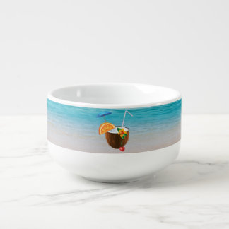 Tropical Beach,Blue Sky,Ocean Sand,Coconut Coctail Soup Mug