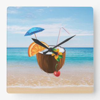 Tropical Beach,Blue Sky,Ocean Sand,Coconut Coctail Square Wall Clock