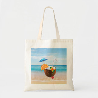 Tropical Beach,Blue Sky,Ocean Sand,Coconut Coctail Tote Bag