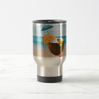 Tropical Beach,Blue Sky,Ocean Sand,Coconut Coctail Travel Mug
