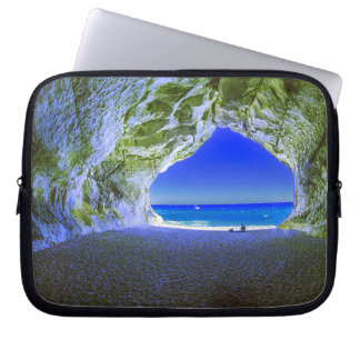 Tropical Beach Cave White Sandy Shore Laptop Sleeve