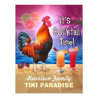 Tropical Beach Cocktail Bar Funny Rooster Chicken Magnetic Card