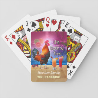 Tropical Beach Cocktail Bar Funny Rooster Chicken Playing Cards