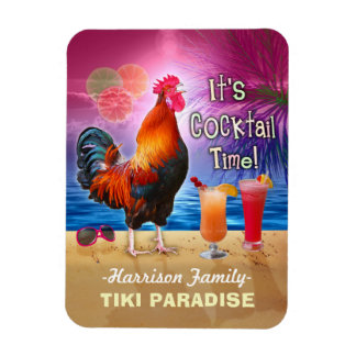 Tropical Beach Cocktail Bar Funny Rooster Chicken Rectangular Photo Magnet