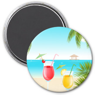 Tropical Beach Cocktail Round Magnet! Magnet