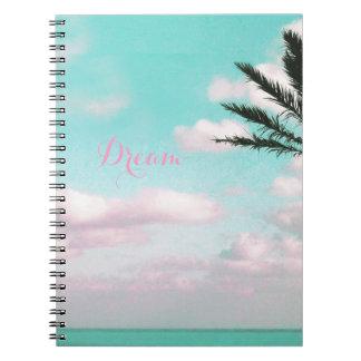 Tropical Beach, Dream, Ocean View, Clouds, Palm Notebook