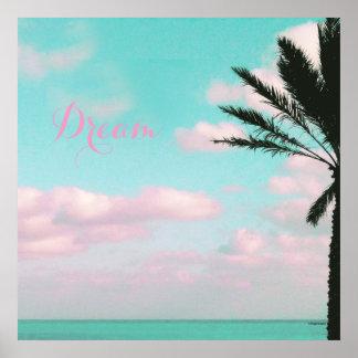 Tropical Beach, Dream, Ocean View, Clouds, Palm Poster