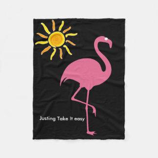 Tropical Beach Flamingo Fleece Blanket
