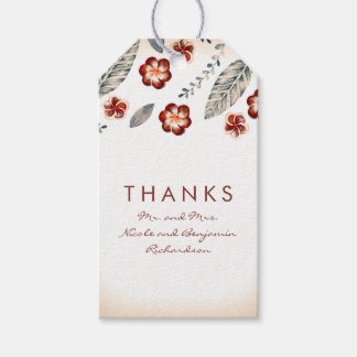 Tropical Beach Flowers Wedding Gift Tags