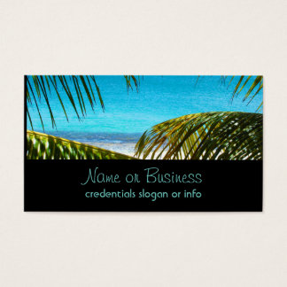 Tropical Beach framed with Palm Fronds