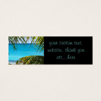 Tropical Beach framed with Palm Fronds Mini Business Card