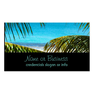 Tropical Beach framed with Palm Fronds Pack Of Standard Business Cards