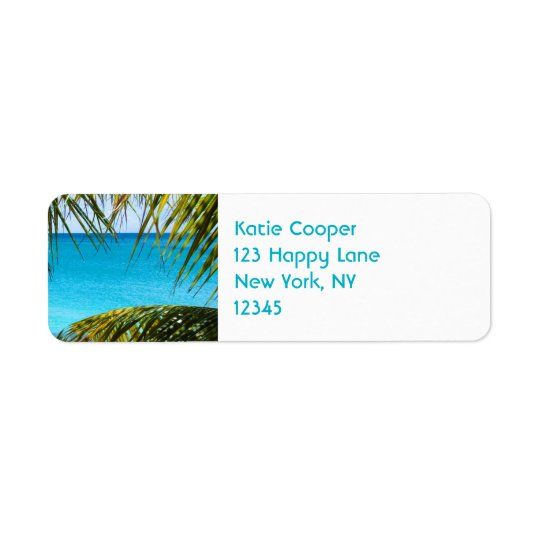 Tropical Beach framed with Palm Fronds Return Address Label