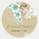 Tropical Beach Hibiscus Blue Wedding Favour Round Sticker