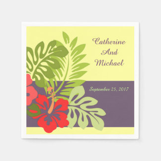 Tropical Beach Hibiscus Flower Wedding Paper Serviettes