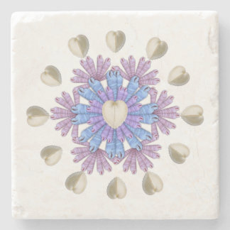 Tropical Beach Home Heart Seashell Pattern Coaster Stone Beverage Coaster