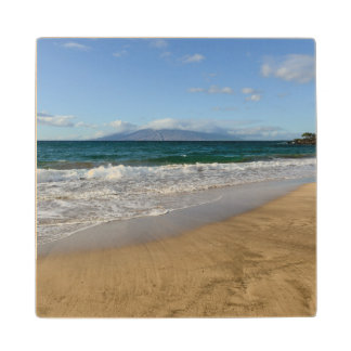 Tropical Beach in Maui Hawaii Wood Coaster