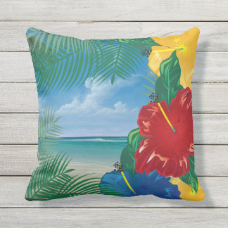 Tropical Beach Island Paradise Design Outdoor Cushion