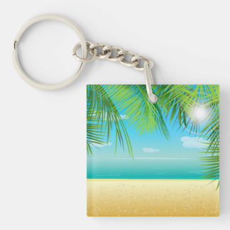 Tropical Beach Key Ring
