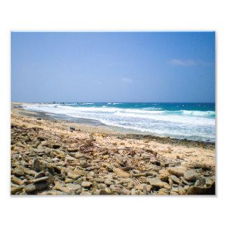 Tropical beach landscape art, rocky beach artwork photo print