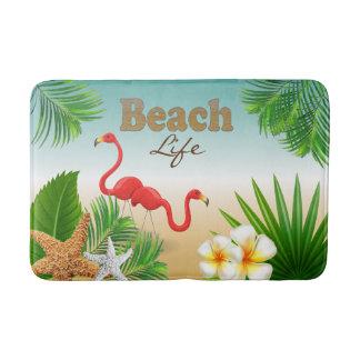 Tropical Beach Life Design with Flamingo Birds Bath Mat