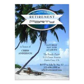 Tropical Beach Lounge Chair Retirement Invitation