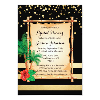 Tropical Beach Luau Black Gold Bridal Shower Card
