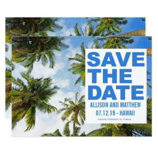 Tropical Beach Modern Palm Save the Dates Card