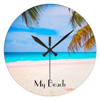 Tropical Beach, My Beach View Large Clock