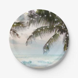 Tropical Beach Ocean Palm Trees & Lights Wedding Paper Plate