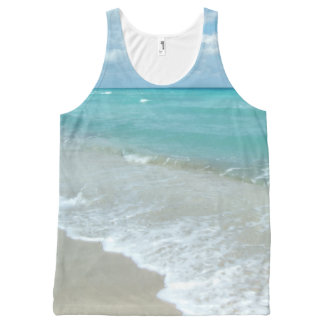 Tropical Beach Ocean Relaxing Blue Photo Print All-Over Print Tank Top
