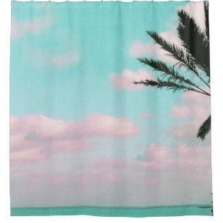 Tropical Beach, Ocean View, Pink Clouds, Palm Shower Curtain
