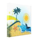 Tropical beach, ocean wrapped canvas print