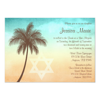 Tropical Beach Palm Tree Bat Mitzvah Invitations