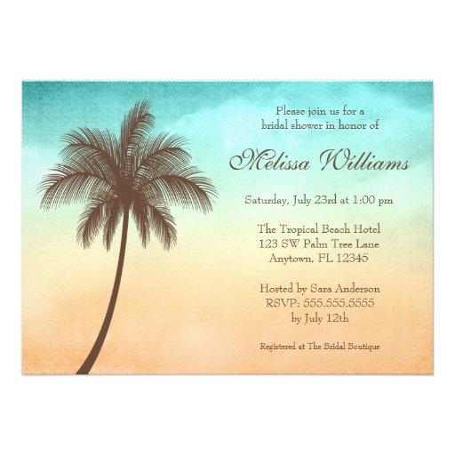 Tropical Beach Palm Tree Bridal Shower Invitations