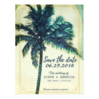 Tropical Beach Palm Tree Key West Save the Date Postcard