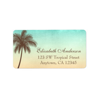 Tropical Beach Palm Tree Personalized Address Label