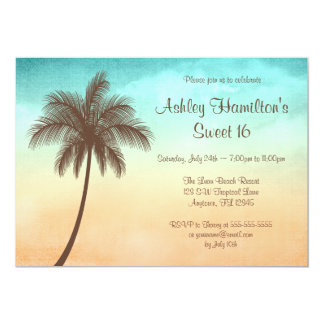 Tropical Beach Palm Tree Sweet 16 13 Cm X 18 Cm Invitation Card