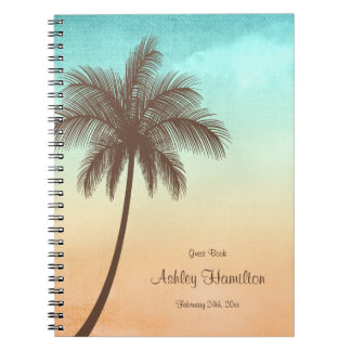 Tropical Beach Palm Tree Sweet 16 Guest Book Spiral Notebook