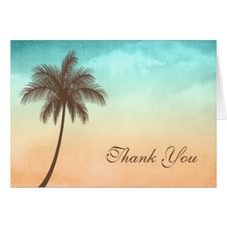 Tropical Beach Palm Tree Thank You Note Card