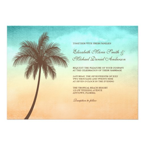 Tropical Beach Palm Tree Wedding Invitations Custom Invitation