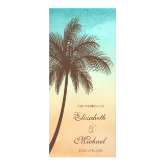 Tropical Beach Palm Tree Wedding Program Customised Rack Card
