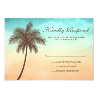 Tropical Beach Palm Tree Wedding Response Card Invitation