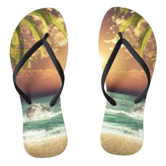 Tropical Beach Palm Trees Thongs