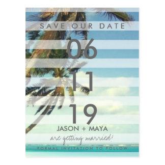 Tropical Beach Palms Wedding Save The Date Postcard