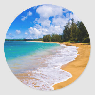 Tropical beach paradise, Hawaii Classic Round Sticker