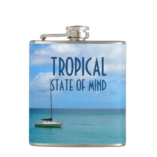 Tropical Beach Paradise with Yacht Photo Hip Flask